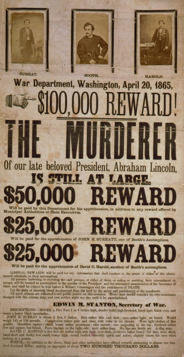 John Wilkes Booth wanted poster