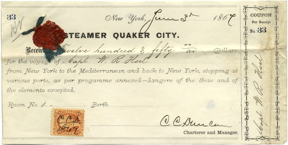 Quaker City receipt for voyage with wax stamp and postage stamp.