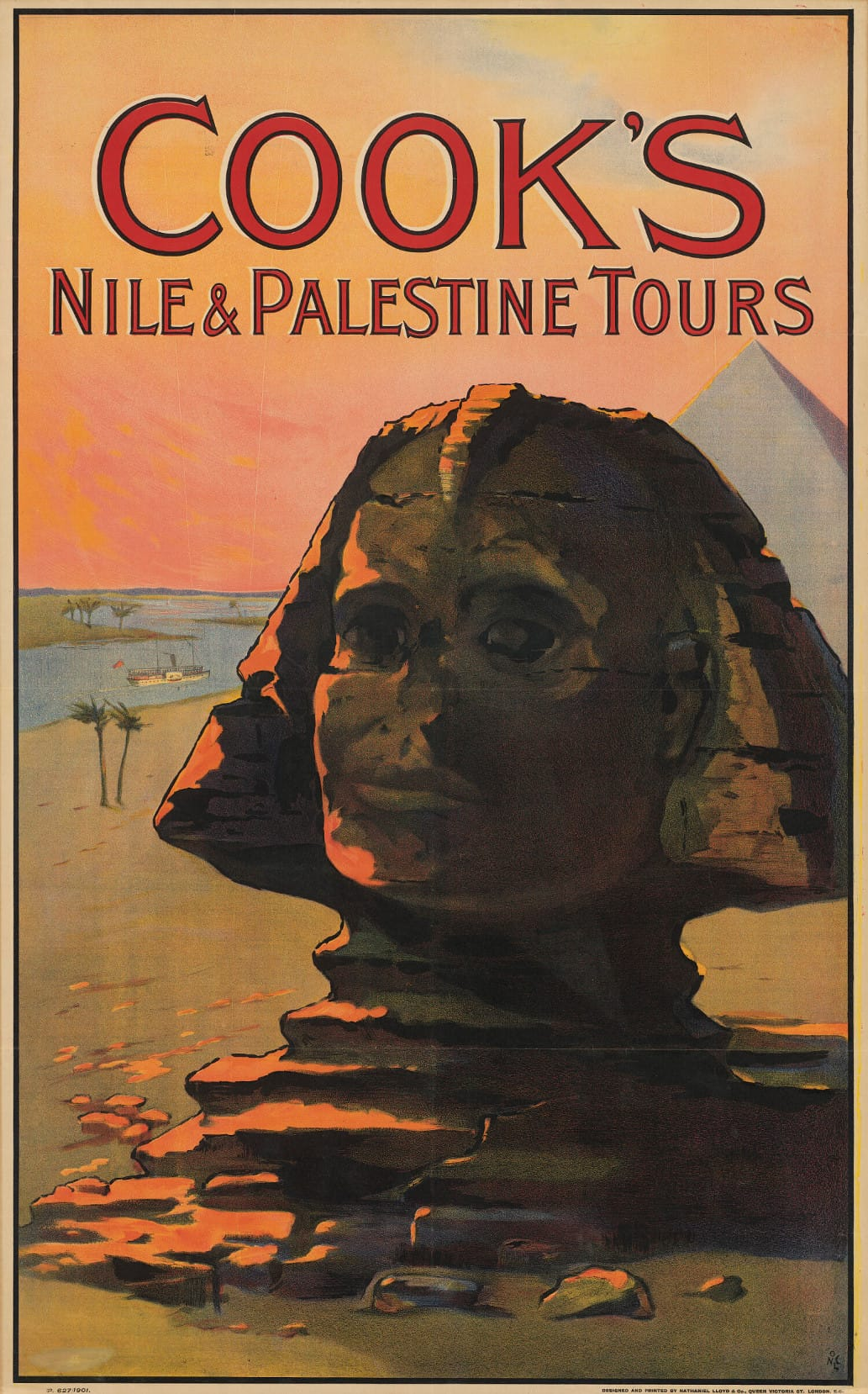 Cook's Nile and Palestine tours poster, featuring a painting of a Sphinx.