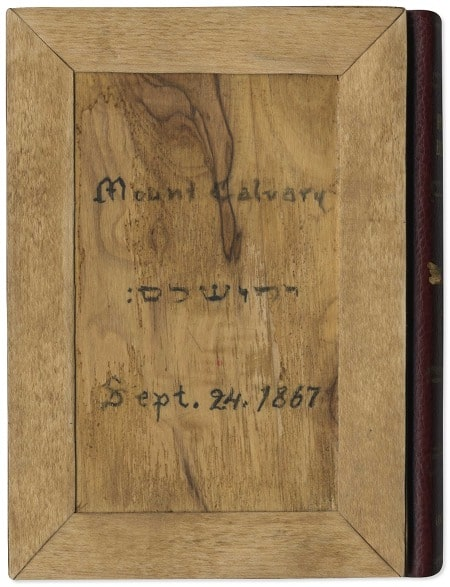 Replica of the bible Mark Twain ordered for his mother; wooden cover