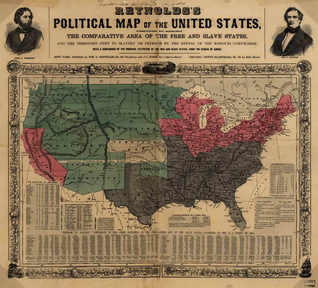 Detail: US map of 1856 shows free and slave states and populations. Reynolds's Political Map of the United States