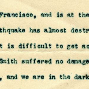 Secretary of War William H. Taft Reports That San Francisco is Almost Destroyed in the Earthquake