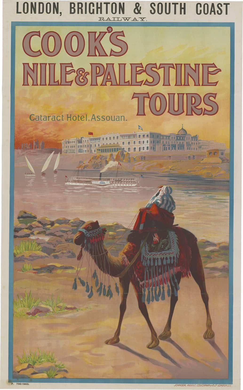 Cook's Nile and Palestine tours poster, featuring the Cataract Hotel on the banks of the Nile in Aswan, Egypt. In the foreground is a man on a camel.