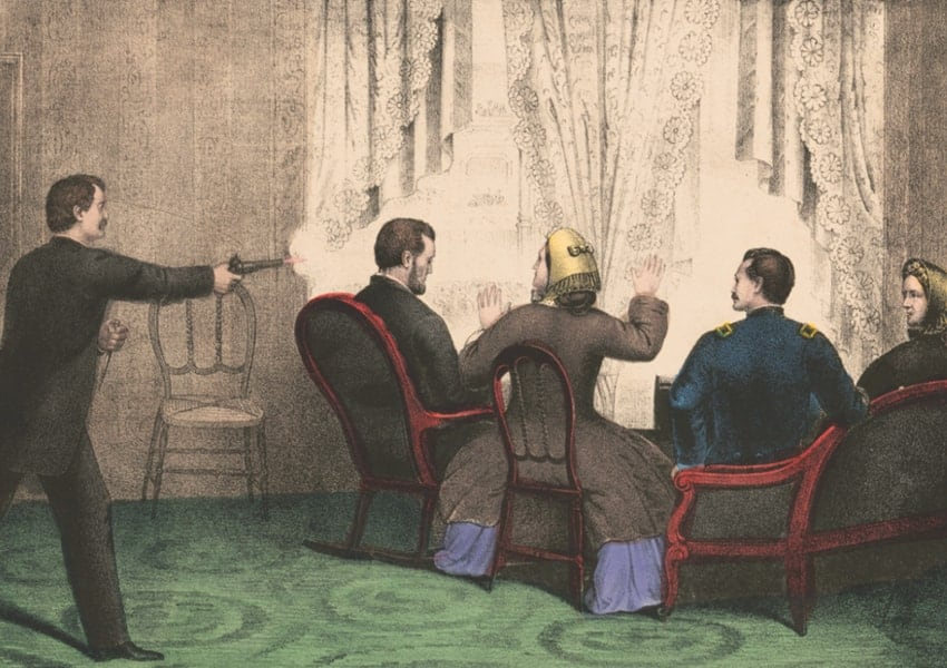 Engraving of the assassination of President Lincoln