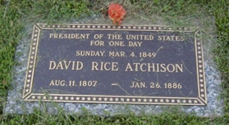 Tombstone of Senator David Rice Atchison, inscribed